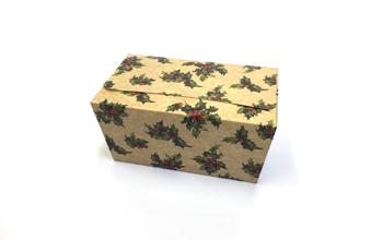 Kraft Holly 1000g sized Ballotin - Gift Carton Ideal for the festive season
