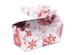 Red and White Snowflake 2 Choc sized Ballotin - Gift Carton Ideal for the festive season