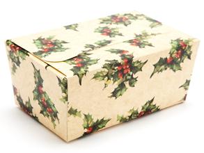 Kraft Holly 375g sized Ballotin - Gift Carton Ideal for the festive season