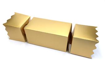 Gold Giant sized Twist End Cracker - Twist-Lock Gift Packaging Cracker Carton Gift Carton Ideal for the festive season