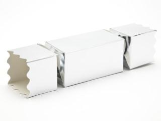 Silver Medium sized Twist End Cracker - Twist-Lock Gift Packaging Cracker Carton Gift Carton Ideal for the festive season
