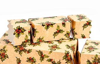 Kraft Holly Small sized Twist End Cracker - Twist-Lock Gift Packaging Cracker Carton Gift Carton Ideal for the festive season