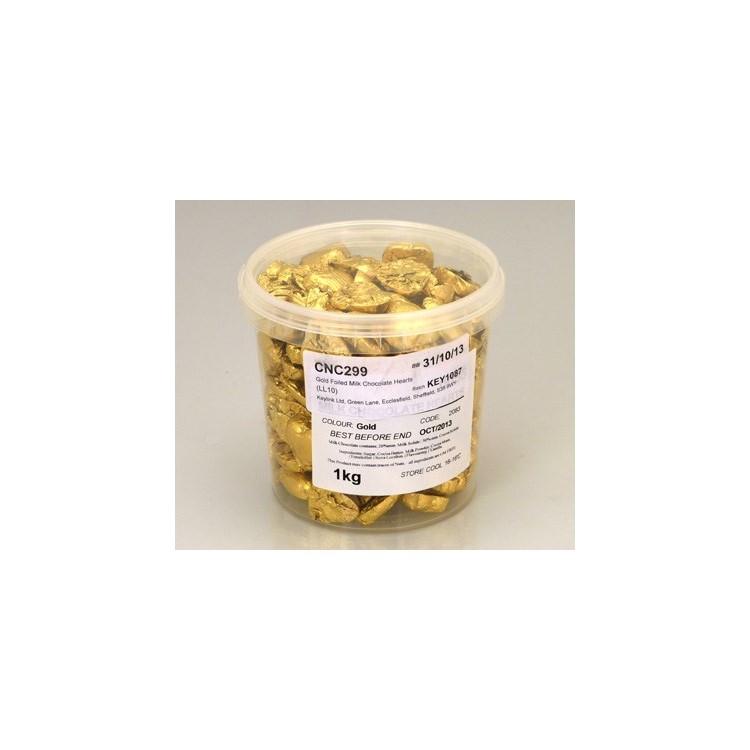 Gold Chocolate Foil Hearts - Swiss Milk Chocolate - 1kg