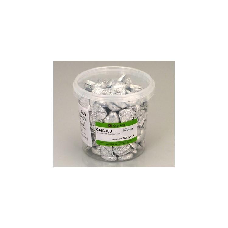 Silver Chocolate Foil Hearts - Swiss Milk Chocolate - 1kg