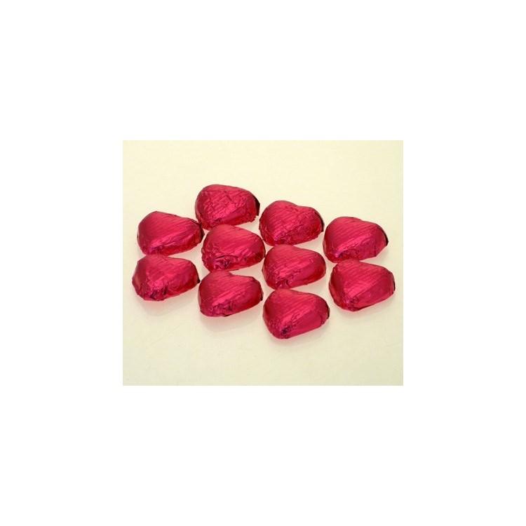 Cerise Pink Chocolate Foil Hearts - Swiss Milk Chocolate - 1kg