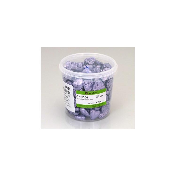 Lilac Chocolate Foil Hearts - Swiss Milk Chocolate - 1kg
