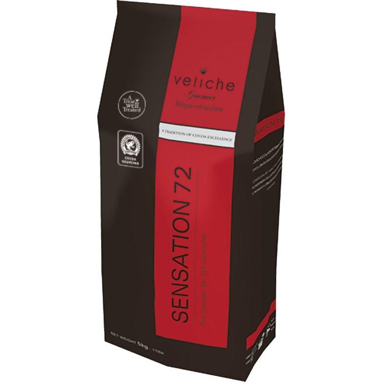 Veliche dark chocolate chips gourmet sensation 72 5kg bag