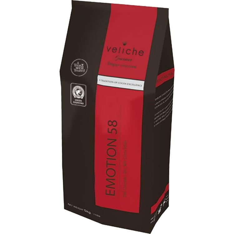 Veliche dark chocolate chips gourmet sensation 58 5kg bag