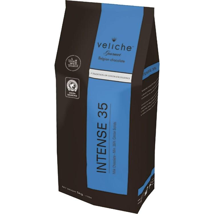 Veliche milk chocolate chips gourmet intense 35 5kg bag