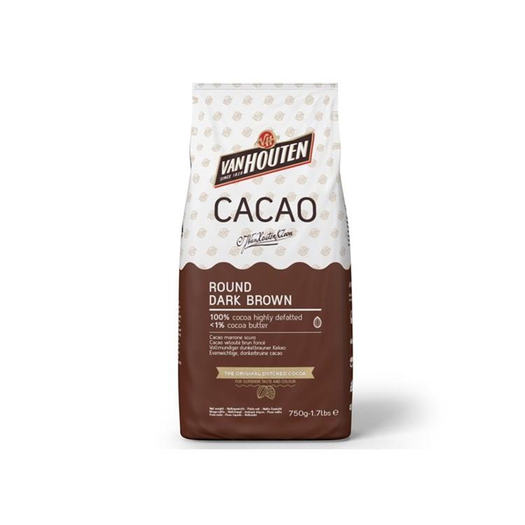 Cocoa powder from Van houten. Round dark brown natural 750g