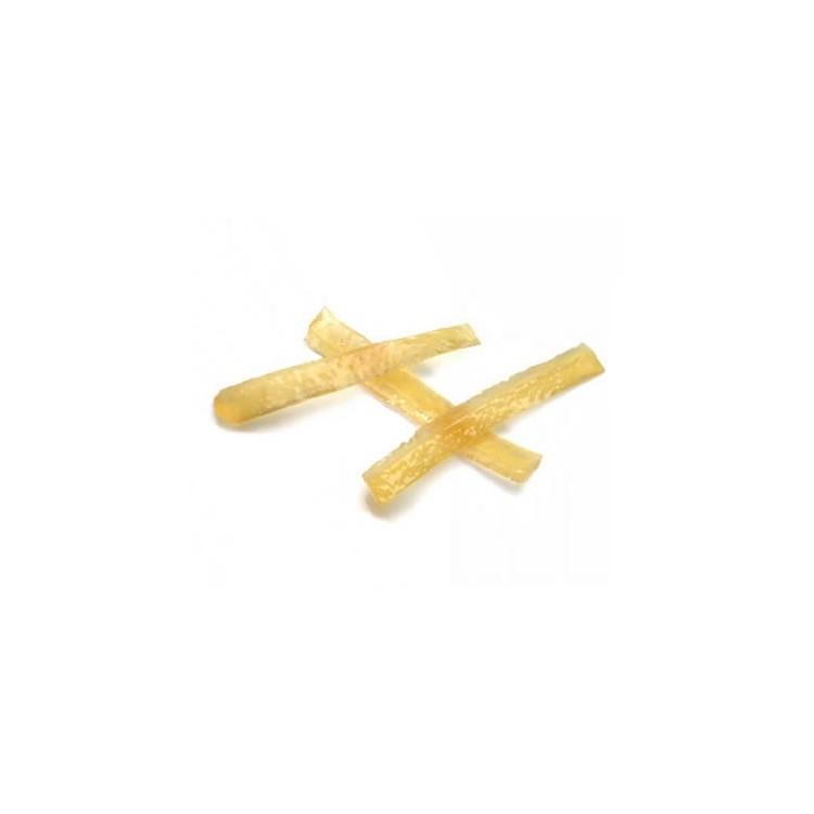 Premium quality candied lemon peel strips. Preserved using frozen storage