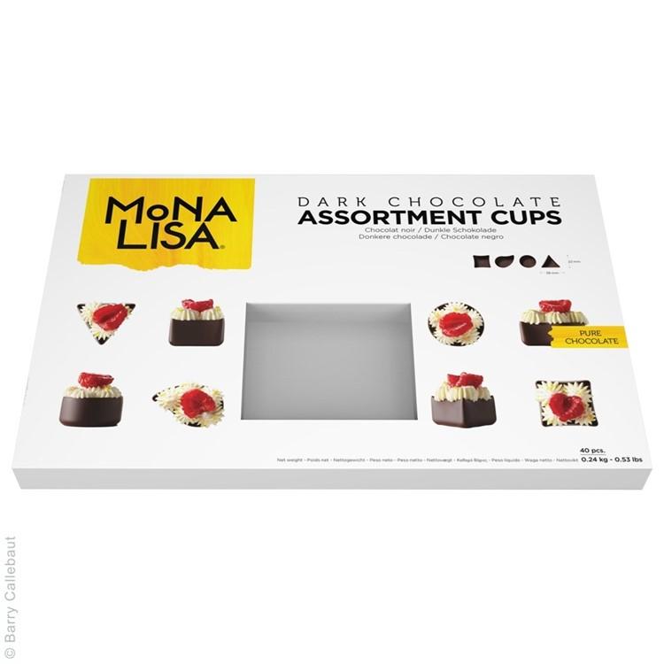 Assorted dark chocolate petit-fours cups
