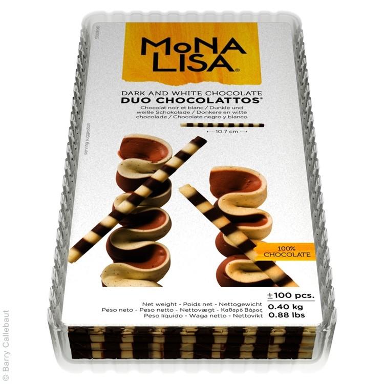 Chocolattos are tightly rolled pencils of duo chocolates