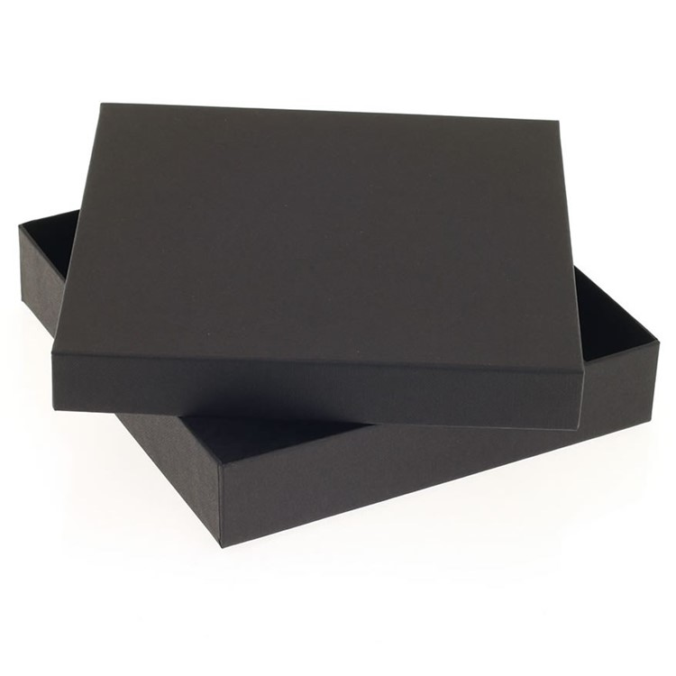 A contemporary rigid square box in black for holding 16 chocs.Fully recyclable. Also available are recyclable inserts in black