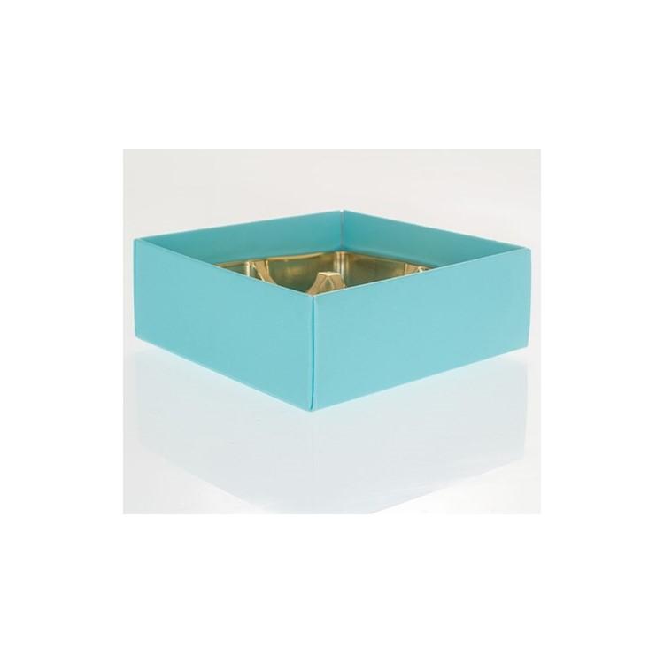 A turquoise folding base to hold four chocolates.