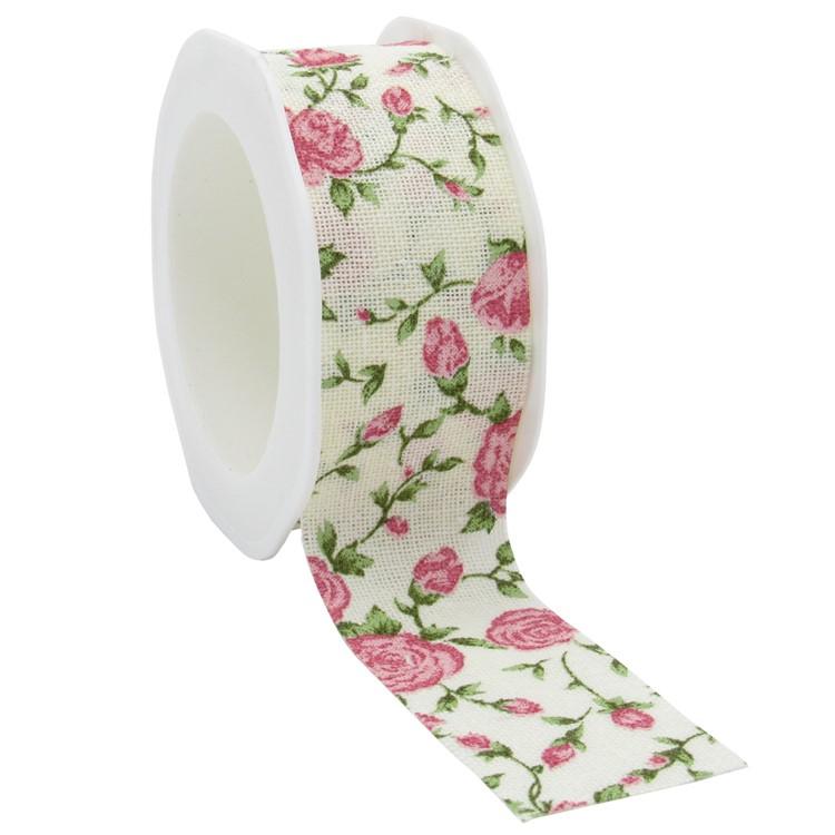 Cotton Roses on Cream Ribbon 15m reel