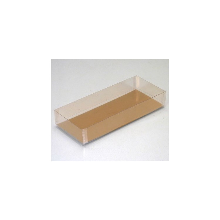 A recyclable PET rectangular box with lid and supplied with a gold board bottom.