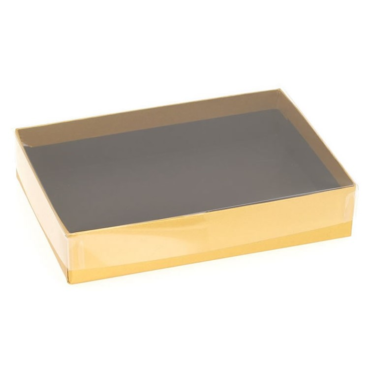 Rectangular boxes with clear lids. The boards and lids are recyclable. The following items are suitable for this box: Inserts