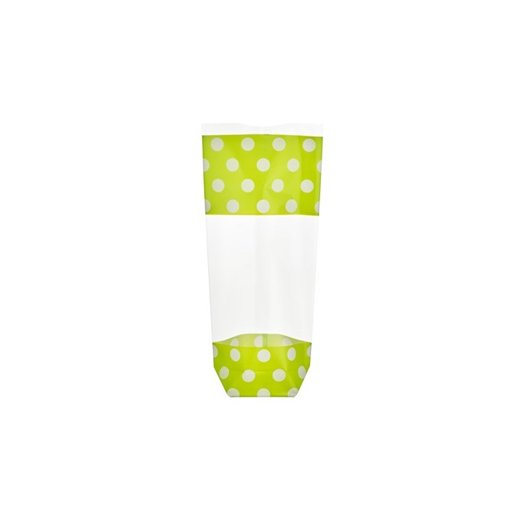 Strong and sturdy polypropylene bags with fully integrated card bases. Transparent bags with white polka dots on lght green.