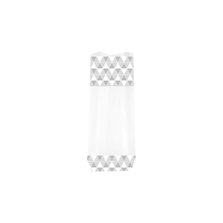 Polypropylene Satchel; Geometric White/Silver box of 100